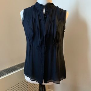 Vince Navy Silk Button Down Sleeveless Blouse Top